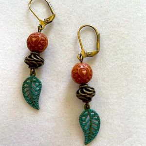 Green Leaves and Brass Earrings, Handmade and NWT